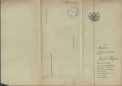 Meghívó Joseph Haydn halálának 150. évfordulója alkalmából rendezett hangversenyre 1959. május 9-10-re
