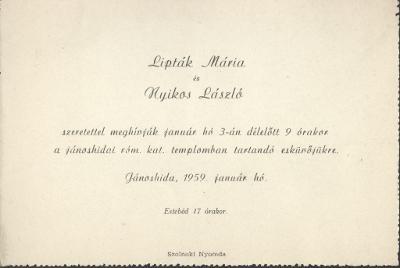 Lipták Mária és Nyikos László esküvői meghívója