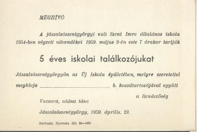 Meghívó a volt Szent Imre általános iskola 1954-ben végzett tanulóinak 5 éves találkozójára