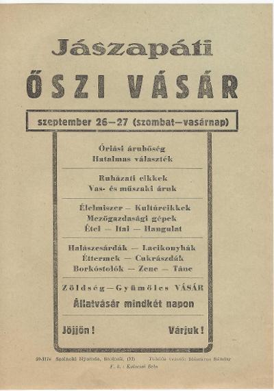 Jászapáti őszi vásár 1959. szeptember 26-27 között