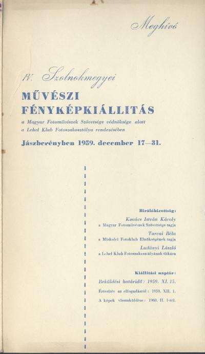 Meghívó a IV. Szolnok megyei Művészi Fényképkiállításra 1959. december 17-31 között