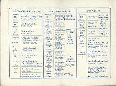 Ünnepi meghívó a Déryné Kultúrház rendezvényeire 1959. decemberében