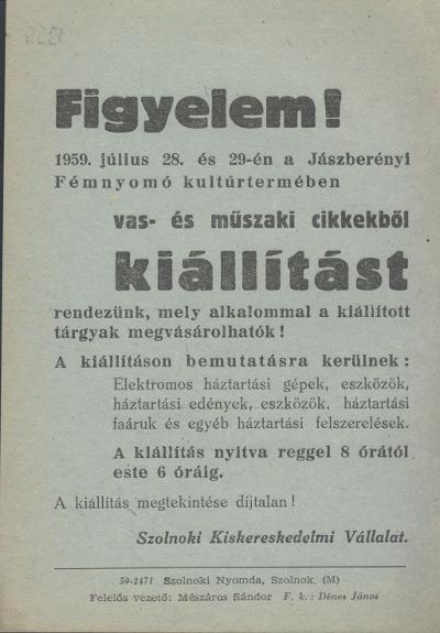 Vas- és műszaki cikkek kiállítása 1959. július 28-29 között
