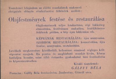 Gálffy Béla festőművész olajfestmények festését és restaurálását vállalja a jászberényi Göncöl utcában