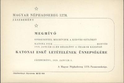 A Magyar Néphadsereg 1278. Parancsnokságának meghívója katonai eskü letételének ünnepségére