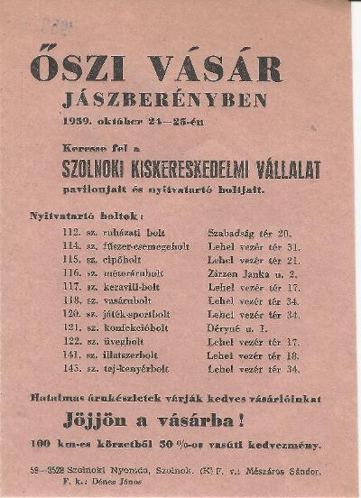 Őszi vásár Jászberényben 1959. október 24-25 között