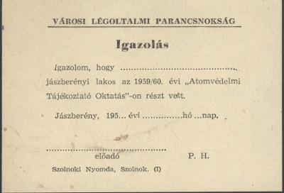 Jászberény város Légoltalmi Parancsnokságának Igazolása