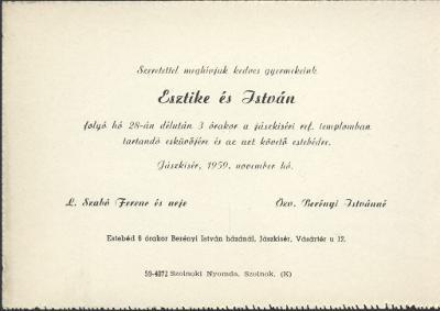 L. Szabó Esztike és Berényi István esküvői meghívója