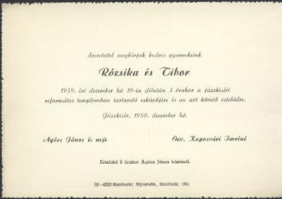 Rózsika és Tibor esküvői meghívója