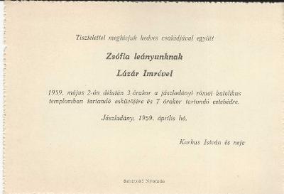 Karkus Zsófia és Lázár Imre esküvői meghívója