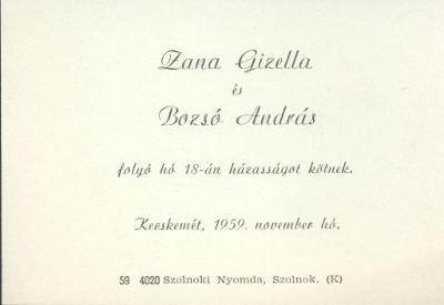 Zana Gizella és Bozsó András esküvői meghívója