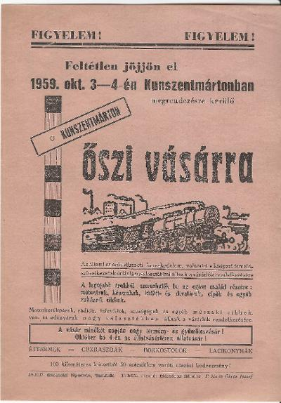 Őszi vásár Kunszentmártonban 1959. október 3-4 között