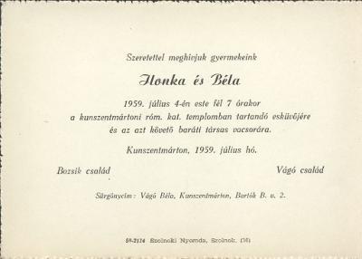 Bozsik Ilona és Vágó Béla esküvői meghívója