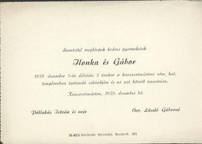Pálinkás Ilonka és László Gábor esküvői meghívója