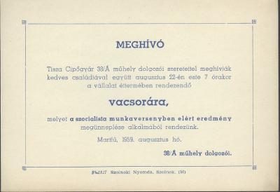 Tisza Cipőgyár 38/A műhelyének dolgozó meghívása vacsorára