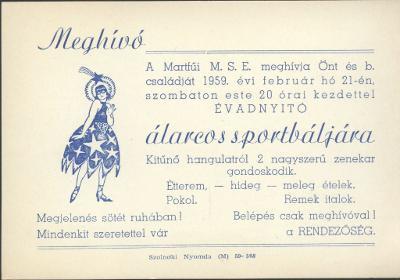 A martfűi M.S.E. meghívója álarcos sportbálra