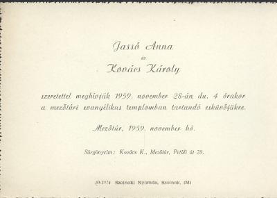 Jassó Anna és Kovács Károly esküvői meghívója