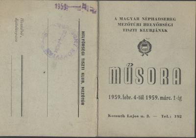 A Magyar Néphadsereg mezőtúri Tiszti Klubjának 1959. februári műsora