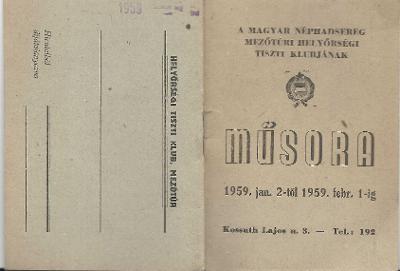 A Magyar Néphadsereg mezőtúri Tiszti Klubjának 1959. januári műsora