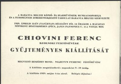 Meghívó Chiovini Ferenc, szolnoki festőművész gyűjteményes kiállítására