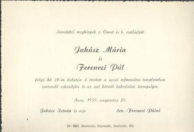 Juhász Mária és Ferenczi Pál esküvői meghívója