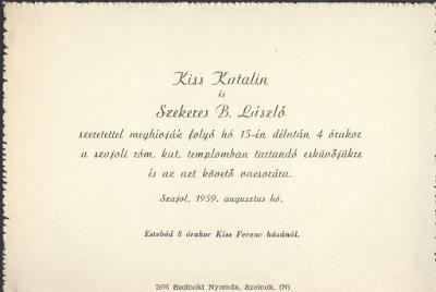 Kiss Katalin és Szekeres B. László esküvői meghívója