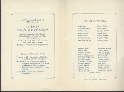 Meghívó az 1949-ben végzett MÁV tanoncok 10 éves találkozójára