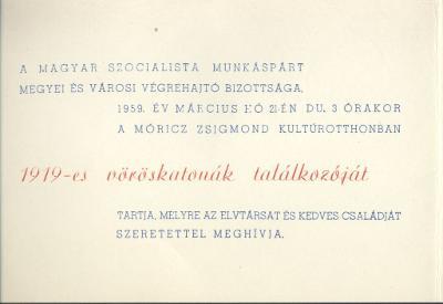 Meghívó az 1919-es vöröskatonák találkozójára