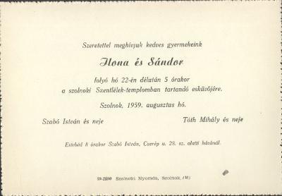 Debreczeni Ilonka és Pásztor János esküvői meghívója