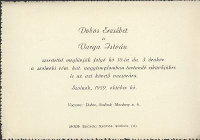 Dobos Erzsébet és Varga István esküvői meghívója