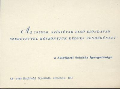 Az 1959-60. színi évad első előadásának köszöntője