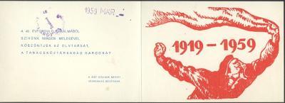 Köszöntőkártya a Tanácsköztársaság megalakulásának 40. évfordulójára