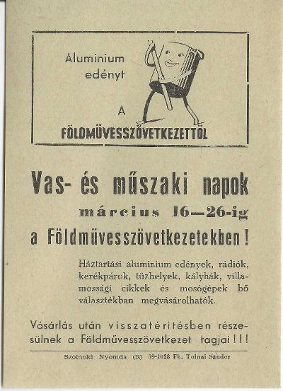 Vas- és műszaki napok a Földművesszövetkezetekben 1959. március 16-26 között