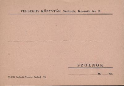 Verseghy Ferenc Könyvtár kölcsönzési értesítője