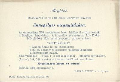 Meghívó az 1959-60-as légoltalmi kiképzés ünnepélyes megnyitására