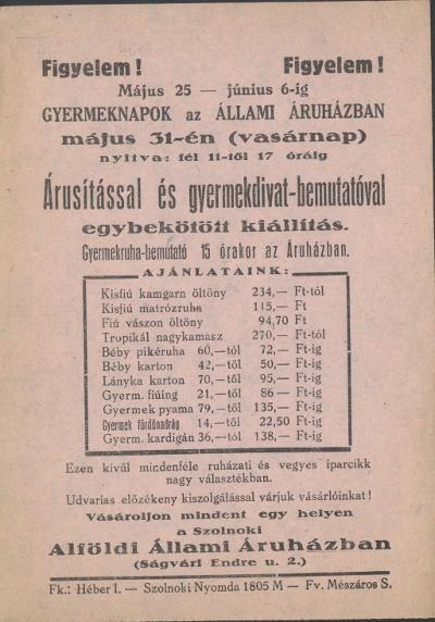 Gyermeknapok az Állami Áruházban 1959. május 25 - június 6. között