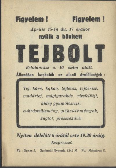 Nyílik a bővített Tejbolt Szolnokon, a Beloiannisz u. 10. sz. alatt