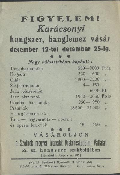 Karácsonyi hangszer, hanglemez vásár 1959. december 12-25. között