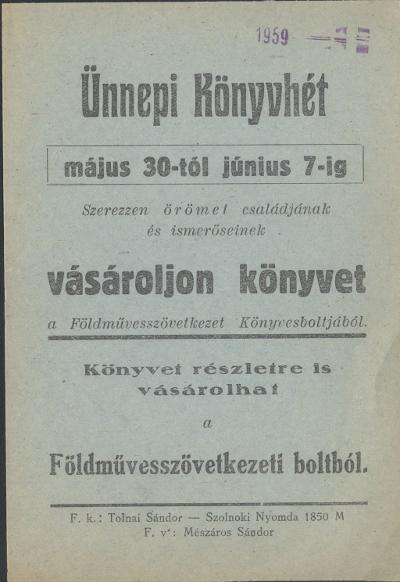 Ünnepi könyvhét 1959. május 30 és június 7 között