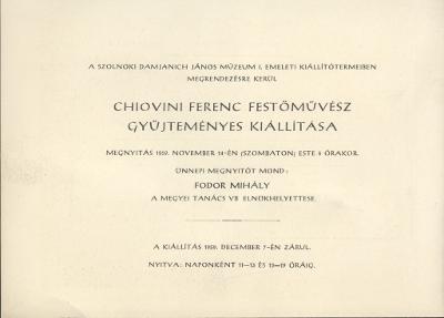 Meghívó Chiovini Ferenc festőművész gyűjteményes kiállítására