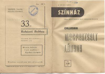 A Szigligeti Színház 1959. november havi műsorfüzete