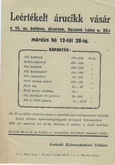 Leértékelt árucikk vásár 1959. március 12-28 között