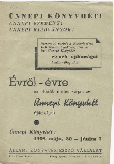 Ünnepi könyvhét 1959. május 30 - június 7. között