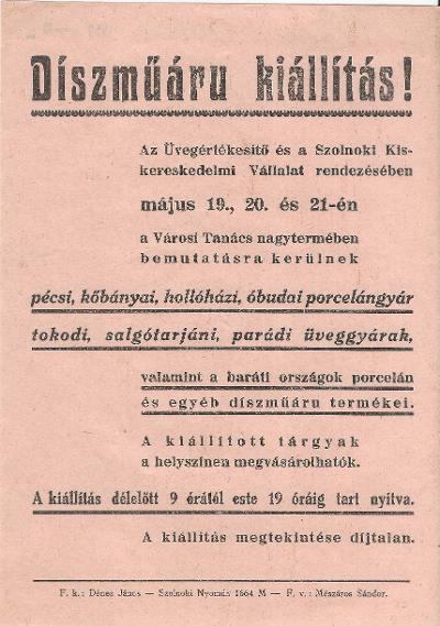 Díszműáru kiállítás 1959. május 19-21. között