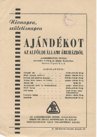 Vásároljon ajándékot az Alföldi Állami Áruházból 1959. november 1-22. között