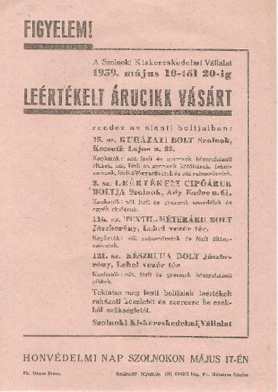 Leértékelt árucikk vásár 1959. május 10-20. között