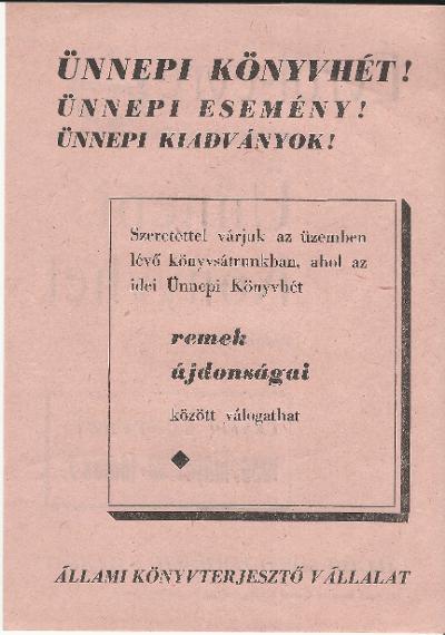 Ünnepi könyvhét 1959. március 30 - június 7. között