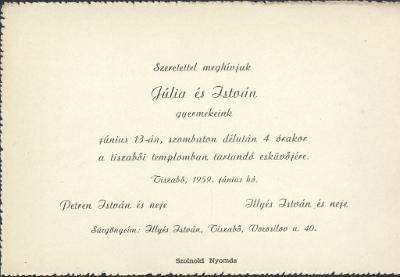 Júlia és István esküvői meghívója