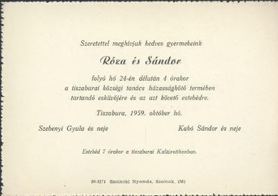 Szebenyi Róza és Kakó Sándor esküvői meghívója