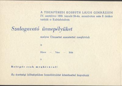 Meghívó a tiszafüredi Kossuth Lajos Gimnázium szalagavató ünnepélyére